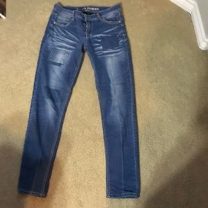 Patchy faded juniors jeans